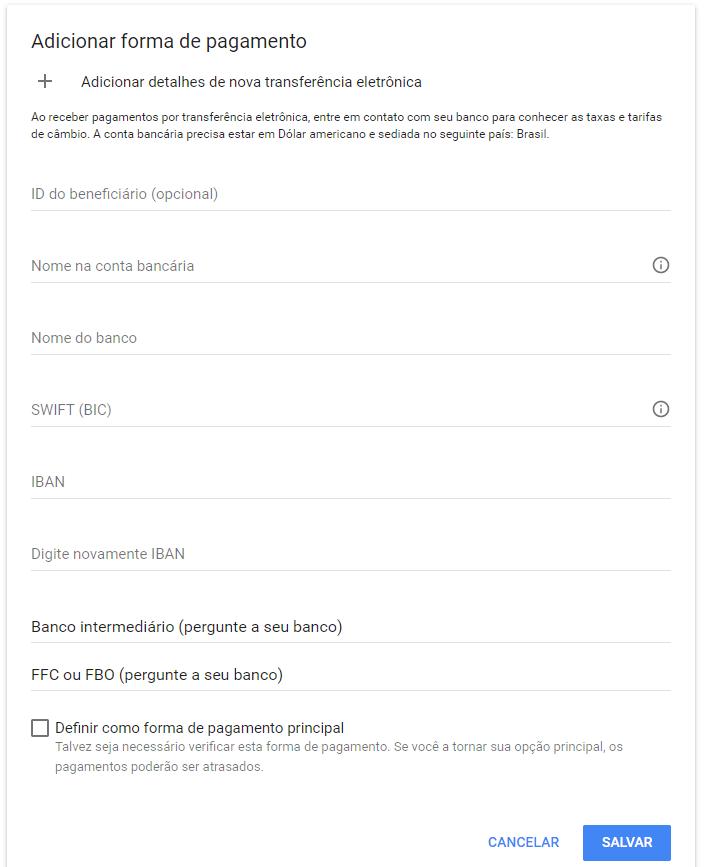 Cadastro Google Adsense
