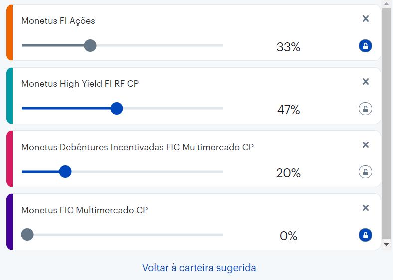 Carteira de investimentos da Monetus - alocação dos percentuais