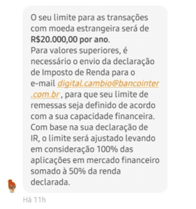 Limites de envios para transferência ao exterior - Banco Inter