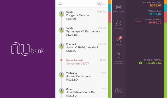 Telas do app do cartão de crédito Nubank: simples, bonito e funcional