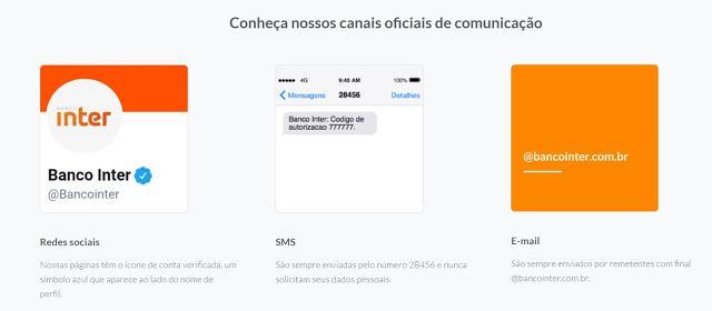Canais de comunicação do Banco Inter utilizados para fraude e roubo