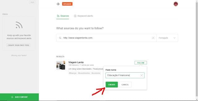 Criar um novo feed no Feedly