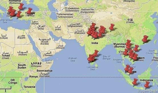 Mapa do roteiro da viagem à Europa e Ásia