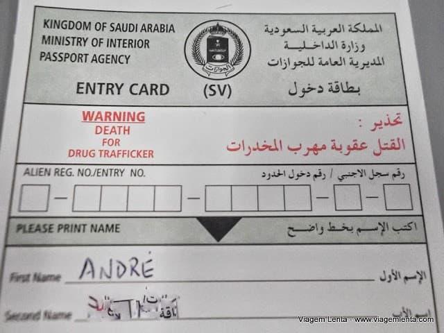 Morte para traficantes no cartão de entrada da Arábia Saudita
