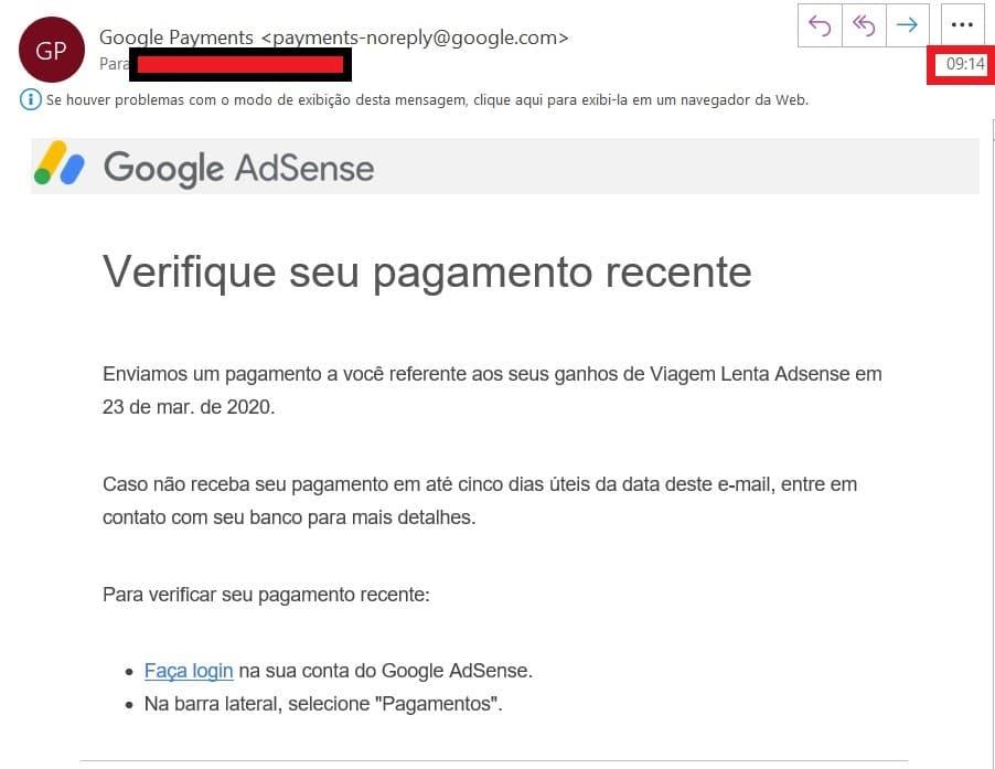 Aviso do Google Adsense