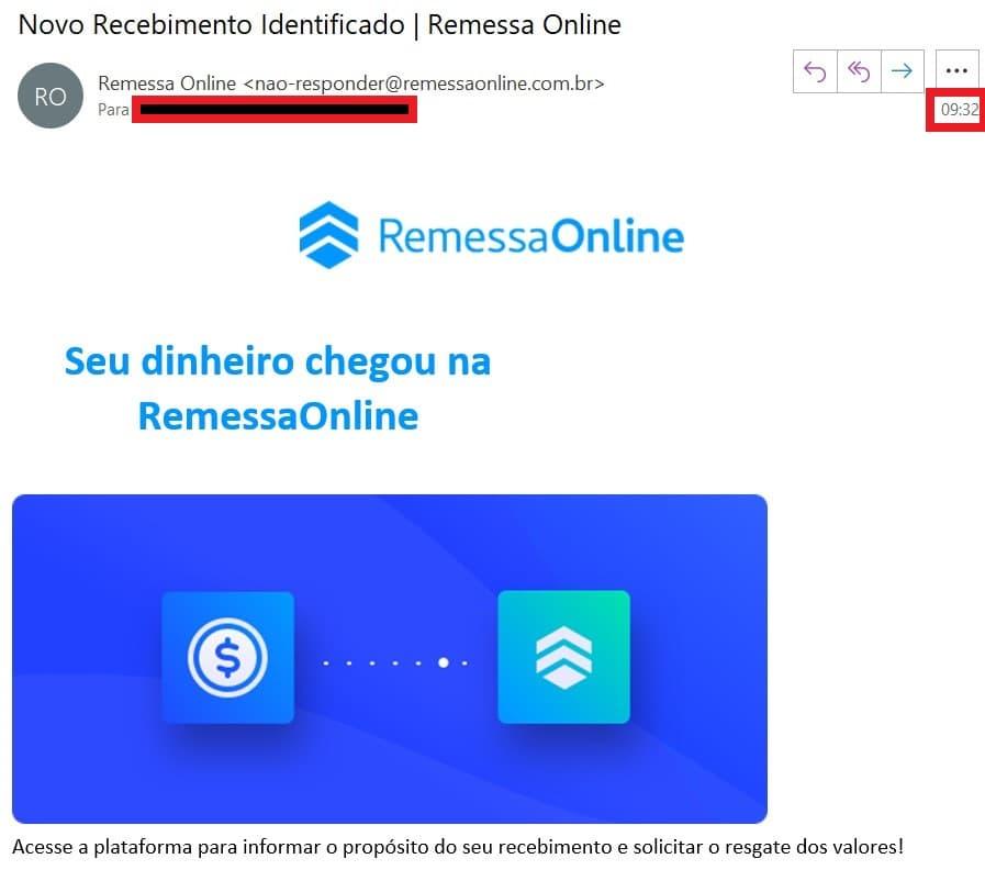 E-mail de recebimento da Remessa Online