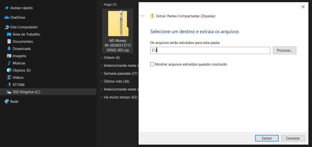 Extração dos arquivos do Microsoft Money