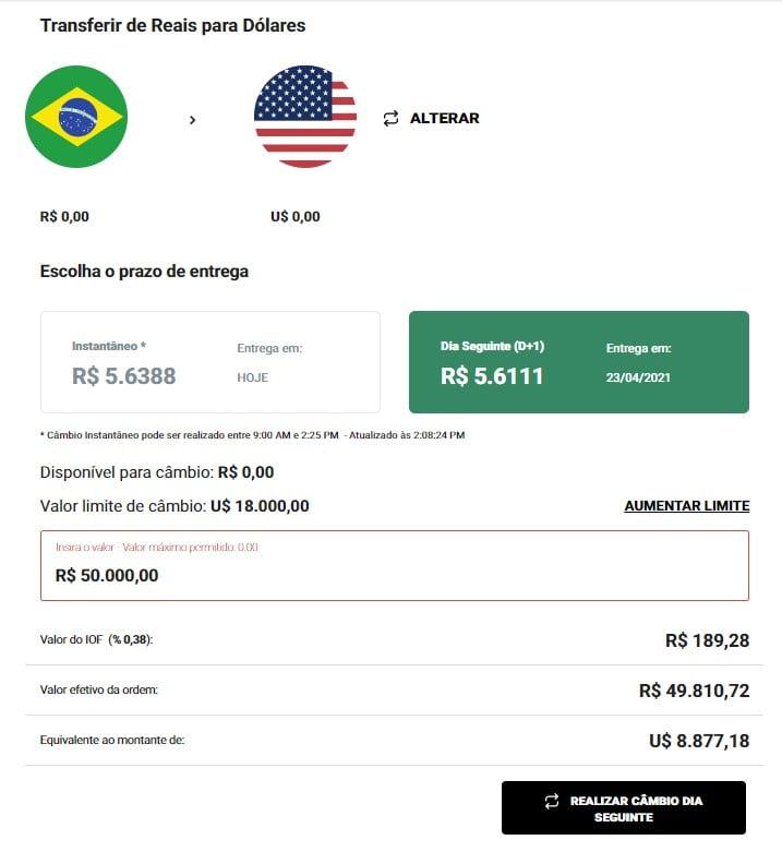 Câmbio integrado na plataforma da Avenue - envio de dinheiro ao exterior