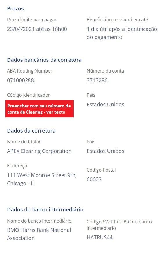 Dados da Avenue para preenchimento na plataforma da Remessa Online