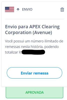 História na Remessa Online de envio de dinheiro para Corretora Avenue