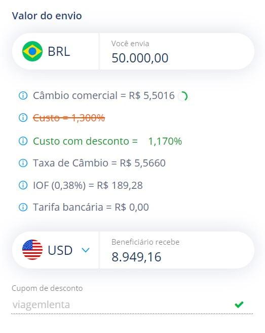 Transferência de dinheiro para a Avenue pela Remessa Online